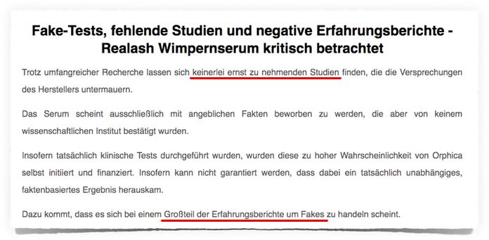 orphica wimpernserum realash studien testbericht fake